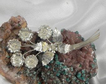 Sterling Silver Flower Holly Brooch Pin