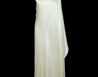 Halston toga dress, vintage grecian goddess wedding or evening gown, ivory silk charmeuse satin, 1970s couture red carpet
