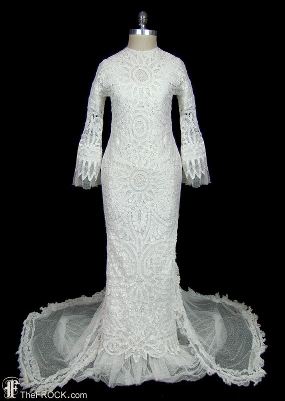 Wedding Dress Antique Battenburg Lace Gown With Train And