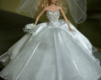 """Wedding Gown for a 12"""" Barbie Doll"""