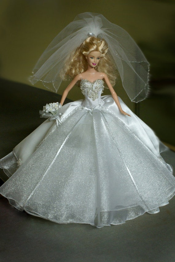 Wedding gown for a 12 barbie doll by kckrafthouse on etsy for Wedding dresses for barbie dolls