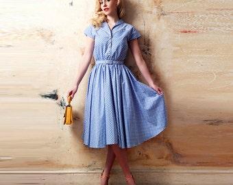 50s Style Dress: Blue Polka Dot