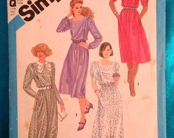 Vintage 1984 dress sewing pattern - Simplicity 6489 - size 10 - 1980s
