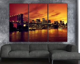 New York Brooklyn Bridge Sunset on Canvas, Large Canvas Wall art, New York City, New York Photo, New York art, Manahattan, New York Artwork