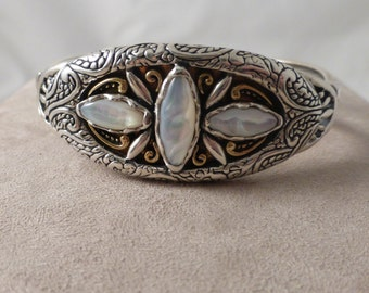 Carolyn Pollack Sterling Silver and Brass, Canyon Road Mixed Metal and Mother of Pearl Cuff Bracelet