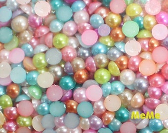 Mix Color 3 - 12 mm Flatback Acrylic Faux Pearl Round Beads Half Kawaii Cabochon Deco Den on Craft Phone Case DIY Deco P117