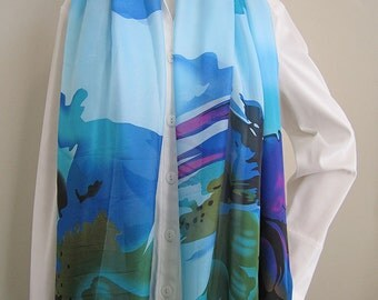 Silky blue, Soft, Lightweight, Long, Rectangle scarf for Spring and Fall