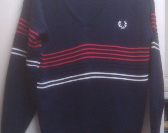 Fred Perry Vintage Navy V Neck Jumper/Sweater White & Red Stripe Size 36 Small/XS