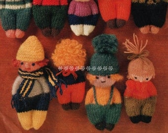 Vintage Knitting Pattern to make A Variety of Cute Easy Little Mascot Dolls with Variations by A PDF for Immediate Digital Delivery