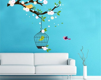 Bird Cage Wall Decal - Reusable Vinyl Fabric - Repositionable Decal - Nursery Room Decals - Home Decor - Bird Cage Hanging From Branch Decal