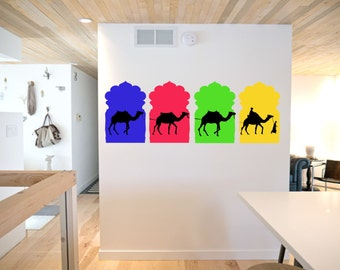 Camels Rajasthani Jharoka Wall Decal - Reusable Vinyl Fabric - Repositionable Decal - Home Decor -  Wall Deoration - Nursery Room Decor