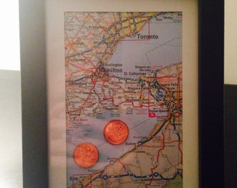 Travel path of long distance relationship framed art