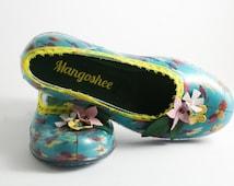 Boho Shoes, Rainbow Shoes, Beach Shoes, Summer Shoes, Party Shoes, Colorful Shoes, Ballet Flats, Blue Shoes, Flower Shoe Clip, Slip In Shoes