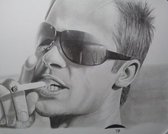 Portrait of Brad Pitt done in pencil by hand