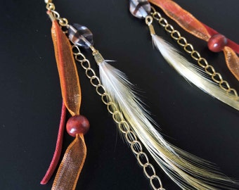 Earrings pheasant feathers