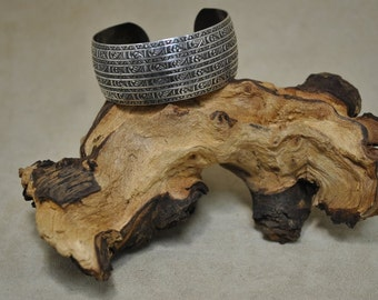 Vintage Sterling Silver Stamped Cuff Bracelet