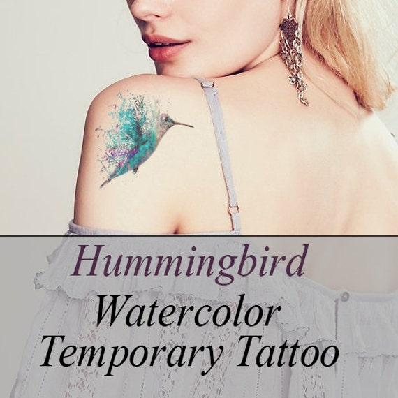 Hummingbird large watercolor temporary by awesomeadjustments for How to make a fake tattoo look real