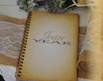 Graduation Journal, Writing Journal - Junior Year, Custom Personalized Journals Vintage Style Book