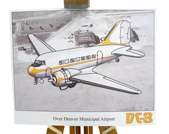 DC-3 art print over Denver aviation gift 1930 airliner