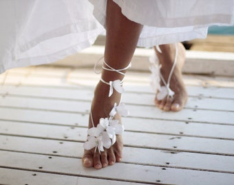 Butterfly barefoot sandal, beach wedding barefoot sandal,nude shoes