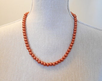 Copper Pearl Necklace - Copper Necklace - Wedding Jewelry - Pearl Jewelry - Bridal Jewelry - Wedding Necklace - Bridesmaid Necklace