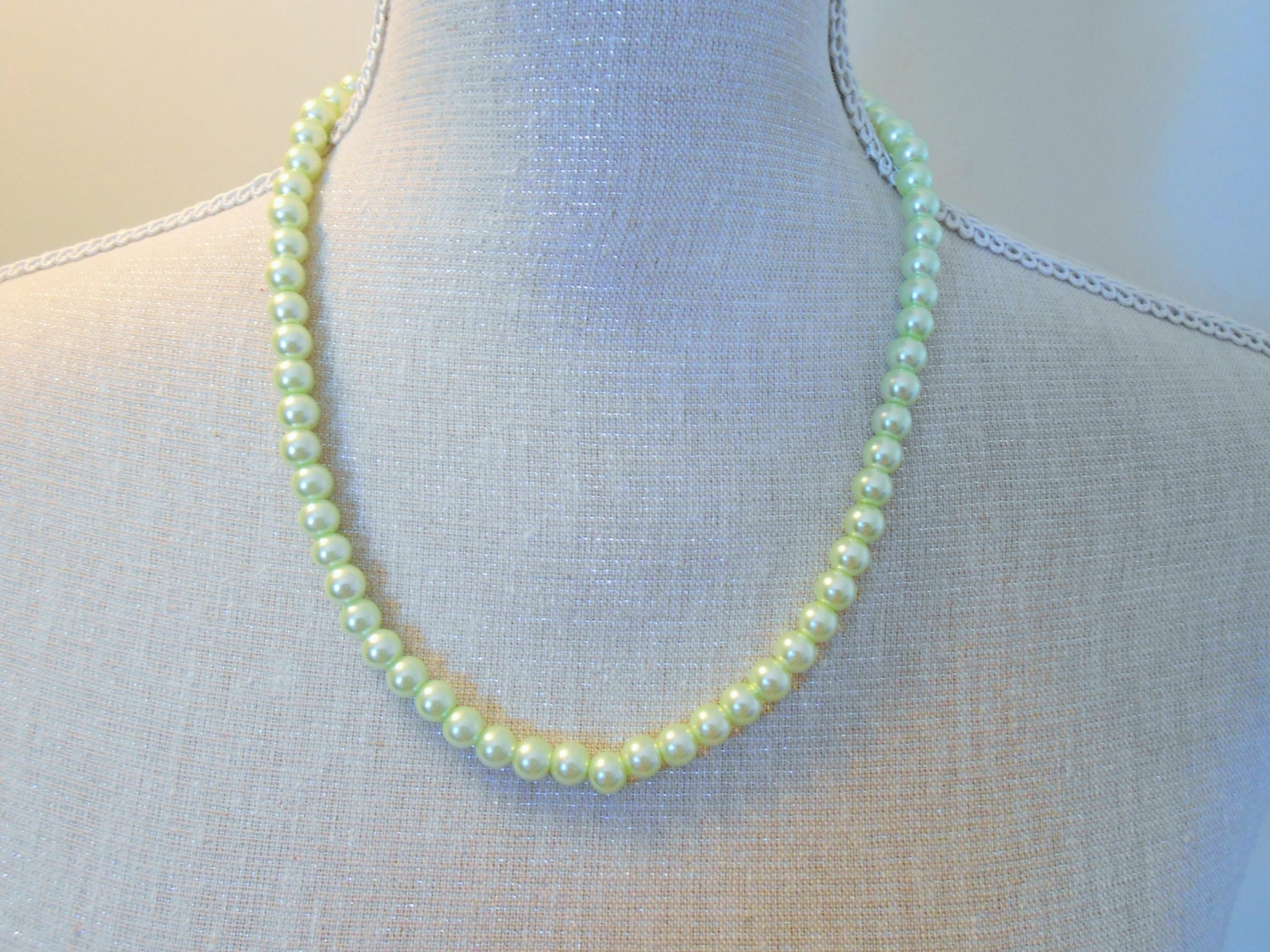 pale green pearls necklace by misticpearls on etsy