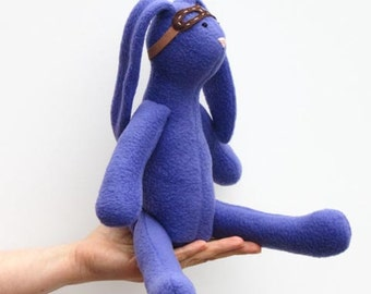 READY TO SHIP Stuffed bunny doll purple soft bunny toy with removable goggles cute stuffed rabbit hare softie plush bunny