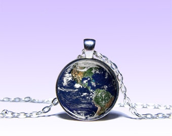 Planet Earth Pendant  Planet NECKLACE Black Red Jewelery Charm Pendant for Him or Her