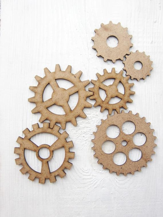 Set Of Clock Gears Mdf Clock Gears Wooden Steampunk Cut