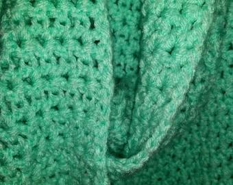 Mint Green Crochet Infinity Scarf