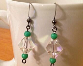 That Gorgeous Glow Earrings - Clear and Green Bead Dangle / Drop Earrings