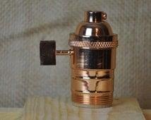 Polished Copper UNO Light Bulb Socket Single Turn / Socket For Handmade Lights