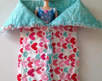 Quilted Doll Sleeping Bag with hearts, turquoise