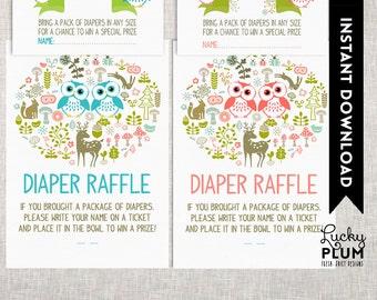 Owl Twin Baby Shower Diaper Raffle / Woodland Diaper Raffle / Forest Animal Diaper Raffle / DIY Printable /  *Digital file*