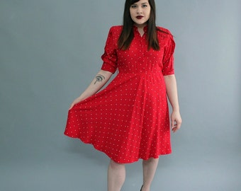 AS IS SALE 1980s does 40s red swing dress . red dress with diamond print, womens vintage shirt dress