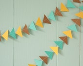 Summer Days - Aqua, Yellow, and Brown Paper Garland - Triangle Arrow Shape- 6 Feet in Length