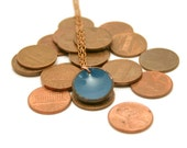 Enameled lucky penny pendant necklace