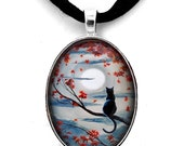 Black Cat in Silvery Moonlight - Black Cat Pendant Necklace Moonlight Autumn Tree Branches Wiccan Pagan Halloween Zen Art Jewelry Handmade