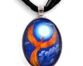 Phoenix Fiery Orange Blue Full Moon Night Handmade Art Jewelry Necklace Laura Milnor Iverson
