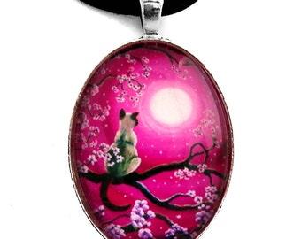 Zen Siamese Cat Sakura Necklace Magenta Pink Moon Handmade Jewelry Art Pendant Cherry Blossoms