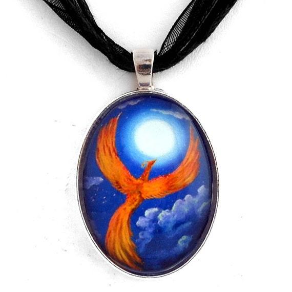 Phoenix Firebird Necklace Handmade Fantasy Art Pendant Jewelry Fiery Orange Blue Full Moon Night Stars Laura Milnor Iverson