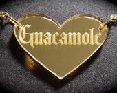 Gothic Guacamole Gold Heart Mirror Acrylic Necklace