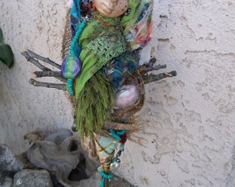 Faerie Ring, Goddess Art, Assemblage Bohemian Eco Botanical Art Doll by Griselda CG