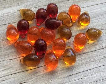 Czech glass beads -Glass teardrop beads orange sunset mix 6x9mm pack of 20