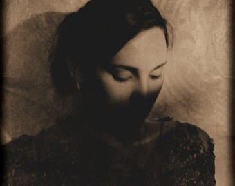 In Shadows - FREE SHIPPING - Fine Art Photo Print Girl Long Exposure Sepia Brown Vintage Portrait Face Lace Dark Art Light Shadows Decor