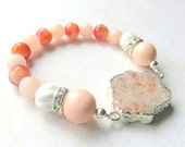 Sunstone and Mountain Jade Bracelet - Gemstone Beaded Bracelet - Peach Pink and Silver - Stretch Bracelet - Stackable