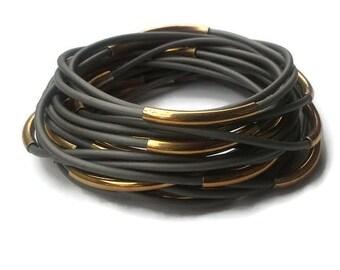Gray Rubber Bracelet Jelly Rubber Bracelet Set Multiple Stacking Bracelets 80s Jewelry Plastic Bangle