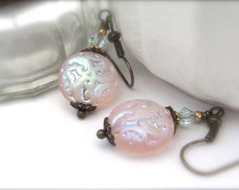 Pink Earrings, Bohemian Boho Earrings, Iridescent Rose Pink, Dangle Drop Earrings, Vintage Style Victorian Jewelry