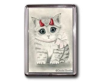 Devil Cat Magnet Cute Kitten Red Horns Fantasy Cat Art Framed Magnet Cat Lovers Gifts