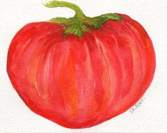Tomato Watercolor Painting Original, Small Kitchen Art, Home Decor, 4 x 6 Original Watercolor Painting of Tomato, Food Artwork